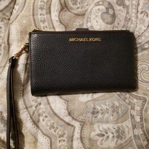 Navy Double Zip Phone Case/Wallet Wristlet